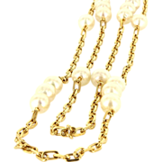 Vintage 18 Karat Yellow Gold Cultured Baroque Pearl Long Double Strand Necklace