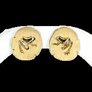 Tiffany & Co Frog on Lilypad Vintage 18 Karat Gold Earrings Estate Signed Jewelry
