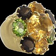 East West Large Cocktail Ring Vintage 18 Karat Gold Citrine Peridot Estate Jewelry