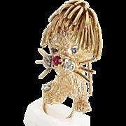 Lion Brooch Vintage 14 Karat Gold Ruby Sapphire Diamond Estate Animal Jewelry Fine