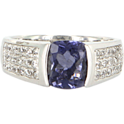 Estate 14 Karat White Gold Tanzanite Cubic Zirconia Ring Fine Jewelry Pre-Owned