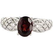 Estate Sterling Silver Cherry Garnet Ring Fine Jewelry Pre-Owned
