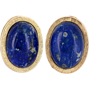Vintage 14 Karat Yellow Gold Lapis Lazuli Cocktail Earrings Fine Estate Jewelry