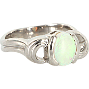 Estate 14 Karat White Gold Opal Cocktail Ring Fine Jewelry Pre-Owned