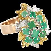Vintage 14 Karat Yellow Gold Chrysoprase Large Leaf Cocktail Ring Estate Jewelry