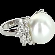 Large Cultured Tahitian South Sea 17.5mm Pearl Diamond Ring Vintage 18 Karat Gold Estate