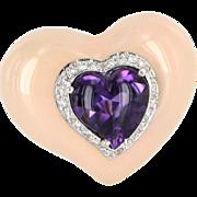 REDUCED Heart Pendant Amethyst Diamond Peach Enamel 18 Karat White Gold Vintage Jewelry