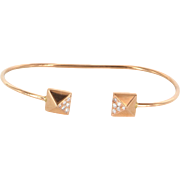 Vintage Pyramid 14 Karat Rose Gold Diamond Cuff Bracelet Estate Fine Jewelry