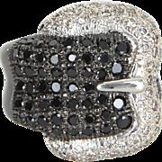 Black White Diamond Buckle Ring Estate 14 Karat Gold Vintage Jewelry Wide Band