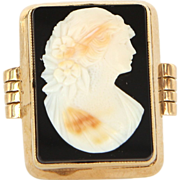 Art Deco 14 Karat Yellow Gold Large Sardonyx Cameo Cocktail Ring Vintage