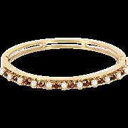 Vintage 14 Karat Yellow Gold Garnet Cultured Pearl Bangle Bracelet Fine Jewelry