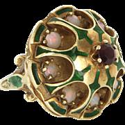 Vintage 14 Karat Yellow Gold Opal Ruby Enamel Cocktail Dome Ring Fine Jewelry