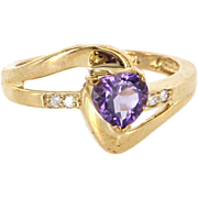 Estate 10 Karat Yellow Gold Diamond Amethyst Heart Right Hand Ring Fine Jewelry