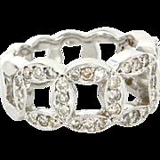 Vintage 14 Karat White Gold Diamond Circle Stack Ring Fine Jewelry Size 5.75