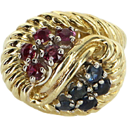 Ruby Sapphire Cocktail Ring Vintage 18 Karat Yellow Gold Estate Fine Jewelry Sz 6