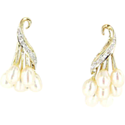 Vintage 14 Karat Yellow Gold Freshwater Pearl Diamond Cocktail Drop Earrings