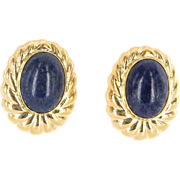 Vintage 14 Karat Yellow Gold Lapis Lazuli Large Oval Cocktail Earrings Estate