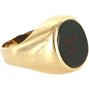Vintage 18 Karat Yellow Gold Bloodstone Mens Pinky Cocktail Ring Fine Jewelry