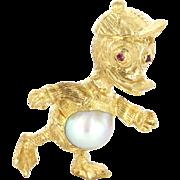 Vintage 18 Karat Yellow Gold Ruby Cultured Pearl Duck Animal Pendant Estate