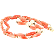 Vintage 18 Karat Yellow Gold Coral Cultured Pearl Choker Necklace Estate Jewelry