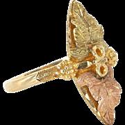 Estate 10 Karat Yellow Rose Gold Black Hills Gold Leaf Grape Cocktail Ring