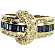 Sapphire Diamond Buckle Ring Vintage 18 Karat Yellow Gold Estate Fine Jewelry