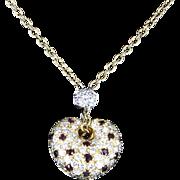 Estate Leo Pizzo Diamond Ruby Heart 18 Karat Gold Pendant Necklace Signed Fine Jewelry