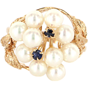 Vintage 14 Karat Yellow Gold Cultured Pearl Sapphire Cluster Cocktail Ring