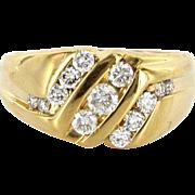 Vintage 14 Karat Yellow Gold Diamond Mens Cocktail Ring Fine Estate Jewelry