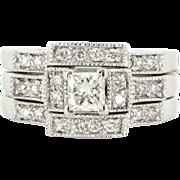 Vintage 14 Karat White Gold Princess Diamond Three Ring Wedding Set Estate