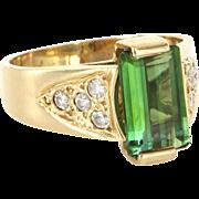 Vintage 14 Karat Yellow Gold Green Tourmaline Diamond Cocktail Ring Estate