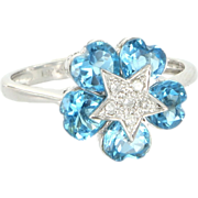 REDUCED Estate 14 Karat White Gold Diamond Heart Cut Blue Topaz Cocktail Ring