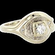 Vintage 14 Karat White Gold Diamond Right Hand Ring Fine Estate Jewelry