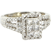 Estate 10 Karat White Gold 1 Carat Diamond Ring Fine Jewelry Pre-Owned