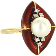 Vintage 18 Karat Yellow Gold Cultured Pearl Diamond Enamel Cocktail Ring Estate