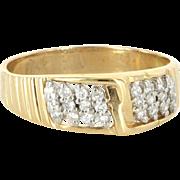 Vintage 14 Karat Yellow Gold Diamond Mens Wedding Band Ring Sz 9.75 Estate