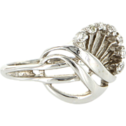 Vintage 14 Karat White Gold Diamond Fan Cocktail Ring Fine Estate Jewelry