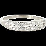 Art Deco 900 Platinum Diamond Key Pattern Wedding Stack Band Ring Vintage