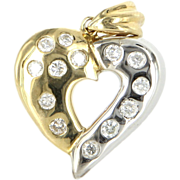 REDUCED Vintage Two Tone 14 Karat Yellow White Gold Diamond Heart Pendant Fine Jewelry