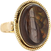 Estate 14k Yellow Gold Fire Agate Oval Statement Cocktail Ring Fine Jewelry