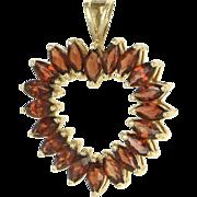 REDUCED Vintage 10 Karat Yellow Gold Garnet Heart Cocktail Pendant Fine Estate Jewelry