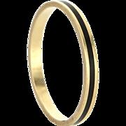 Vintage 14 Karat Yellow Gold Black Enamel Stack Band Ring Sz 7.5 Fine Jewelry