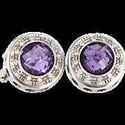 Vintage 14 Karat White Gold Amethyst Zircon Round Circle Stud Earrings Estate Jewelry