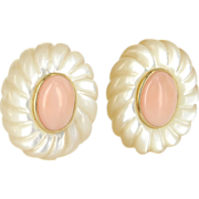 Vintage 14 Karat Yellow Gold Mother Of Pearl Coral Large Cocktail Clip Earrings