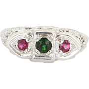 Vintage 14 Karat White Gold Filigree Three Stone Tsavorite Garnet Pink Tourmaline Ring Fine ..