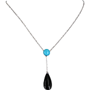 Alfieri St John Turquoise Onyx Diamond Vintage Drop Necklace 18 Karat White Gold Jewelry