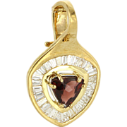 Vintage 18 Karat Yellow Gold Diamond Garnet Cocktail Slide Pendant Estate