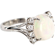 Vintage 14 Karat White Gold Opal Doublet Diamond Cocktail Ring Estate Jewelry