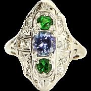Vintage 14k White Gold Tanzanite Tsavorite Green Garnet Filigree Cocktail Ring