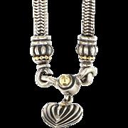 Estate Lagos Caviar 18 Karat Yellow Gold 925 Sterling Silver Heart Drop Necklace Fine